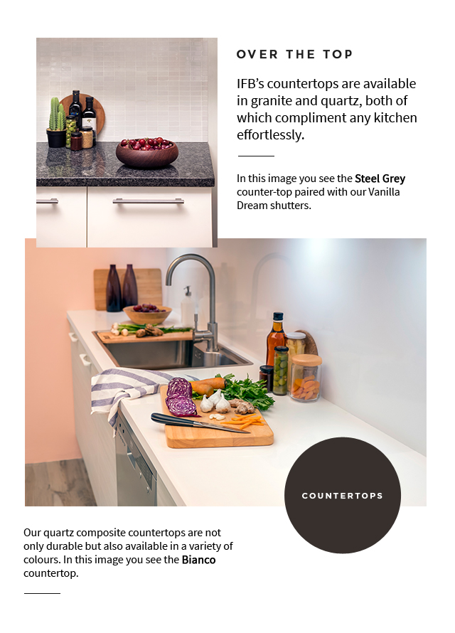Over the top | Counter Tops for Modular Kitchen - IFB Modular Kitchen